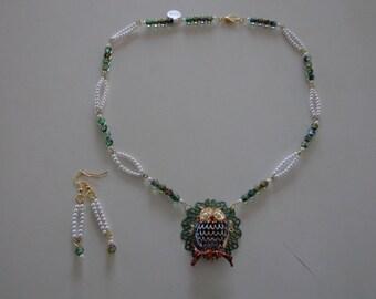 Fancy Owl Necklace and Earrings