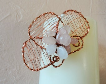 Flower Brooch with Three Wire Wrapped Leaves