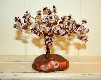 Garnet And Rose Quartz Bronze Wire Gemstone Tree