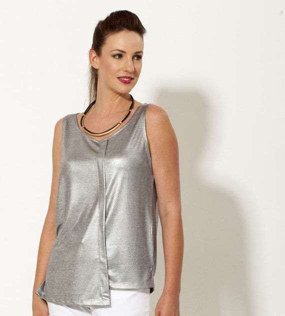 20 sale silver top faux leather evening tops metallic for Silver metallic shirt women s