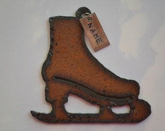 ICE SKATE made of Rustic Rusty Rusted Recycled Metal Custom PERSONALIZED Ice Skate / Skater / Winter Ornament or Magnet
