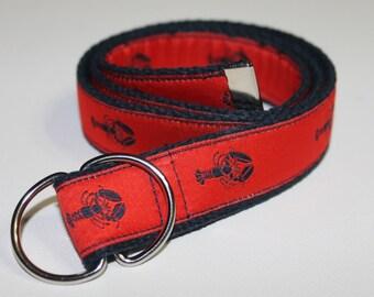 Preppy Lobster Belt for Children-Red and Blue Webbing