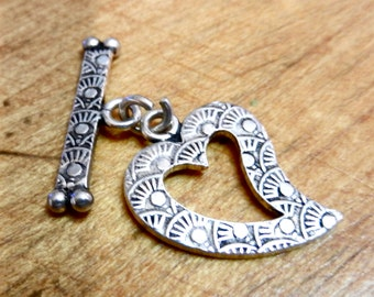 Hand Made 16 Gauge Sterling Silver Heart Toggle Clasp With Stamped Designs Sold Per Piece