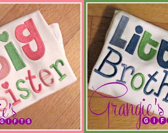 Custom Embroidered Sibling Big/Little Brother/Sister Shirts