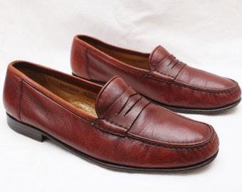 "90's Vintage ""SANTONI"" Brown Leather DESIGNER Penny Loafers Sz: 9.5 (Men's Exclusive)"