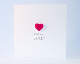 Love You Granny Card with Pink detachable Heart magnet keepsake