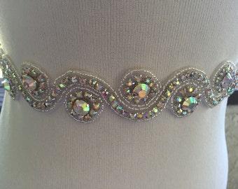 AB Rhinestone Bridal Sash,Aurora Rhinestone Wedding Sash,Colorful Iridescent Big Rhinestone Sash