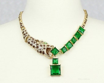 Leopard Necklace Green Gold Statement Necklace