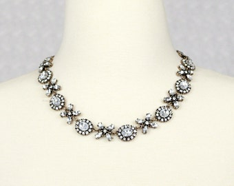 Vintage Rhinestone Collar Necklace Crystal Statement Necklace