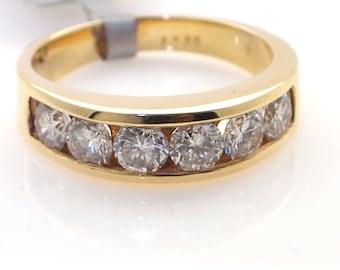 14K Yellow Gold Ladies Band Channel Set G SI Round Diamonds 1.25 Carat Finger Size 6.25