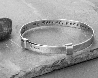Always my mother, forever my friend Recycled Silver Zip Tie Bracelet