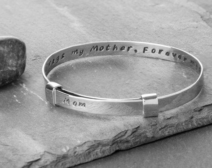 Featured listing image: Always my mother, forever my friend Recycled Silver Zip Tie Bracelet
