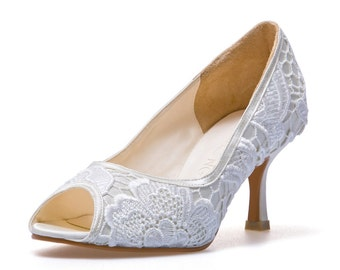 Custom Made Wedding Shoe. White Lace Wedding Shoe. Satin Wedding Heel. White Bridal Shoe. Custom Made Wedding Shoe.