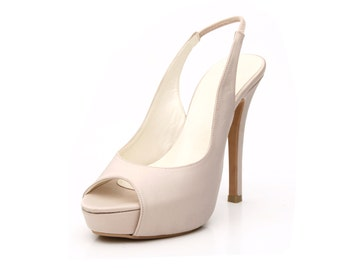 Custom Made Nude Sling Back Pumps, Sling Back Heels, Skin Colored High Heels, Nude Platform Pumps, Bespoke High Heels