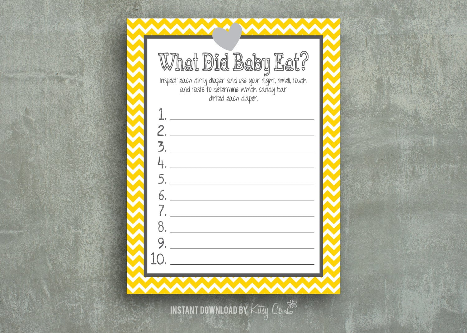 what did baby eat game baby shower printable yellow