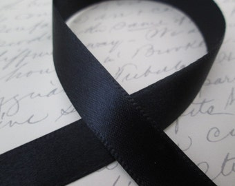 "Roll of Black Satin Ribbon, 12mm Wide Satin Ribbon, 25 Yards Satin Ribbon, , ~1/2"" Wide Black Ribbon,  22 M"