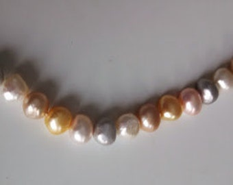 7 Inch Strand Of Lovely Pastel Fresh Water Pearls