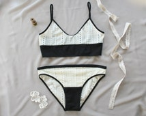sheer lace lingerie set - see through bra and panty - cream black - lace bralette - brief bikini thong - made to order by Needless Studio