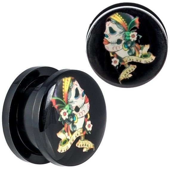 Body piercing jewelry sugar skull plugs left right design for Day of the dead body jewelry