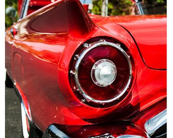 Shiny 1957 Red Thunderbird Classic Car Fender And Tail Light Fine Art Photography Print