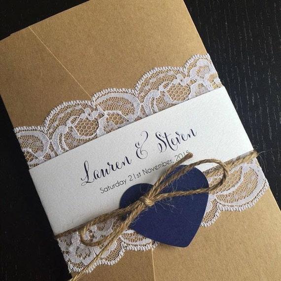 Vintage Lace Pocket Wedding Invitations By DesignsbyBrea