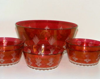 Vintage Bowls Set of Ruby Crimson Flash Glass Cut Glass Trifle Dessert Bowl And Five Serving Dishes 1950s