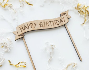 Happy Birthday Banner - Cake Topper