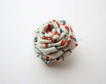 Orange-Teal Rose Boutonniere - Men's Lapel Pin - Buttonhole -  Hand Rolled Fabric Flower Brooch - Suit Pin