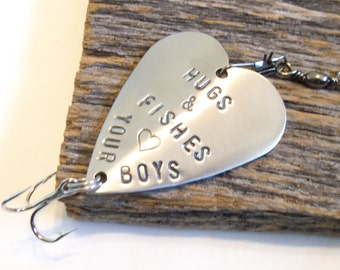 Personalized Gift for Mom Mothers Day from Son to Mommy Fishing Lure Gift for Dad Fathers Day Grandpa Fishing Hunting Outdoor Gift Fish Hook