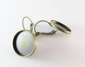 D-00284 - 4 Lever back hoop earrings components 16mm