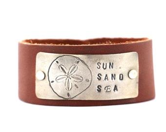 Summer Bracelet, Leather Cuff Bracelet, Leather Bracelet, SUN SAND SEA Jewelry, Sand dollar bracelet, Spring Jewelry, Summer Jewelry Gift