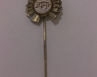 Vintage white enamel musical design pin