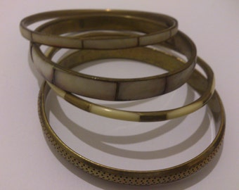 vintage brass and mother of pearl bangles x4