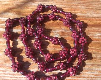 Vintage Garnet grape cluster necklace