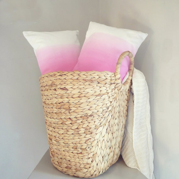 Pair Of Hot Pink Ombre Cushion Covers Two Dip Dyed Throw