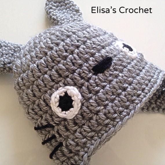Crochet Pattern Totoro Hat : CROCHET PATTERN - Crochet TOTORO hat with earflaps (from 0 ...
