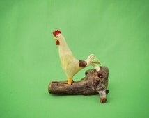 White Rooster, Carved Chicken, Folk Art Rooster, Primitive Chicken