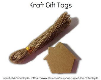 25, 50, 100 House Kraft Gift Tags Die Cut&Twines DIY Gift Tags Perfect for wedding,babyshower favours,gift tags,goodie bag tags, price tags