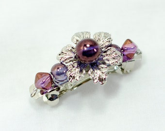 Purple flower hairclip