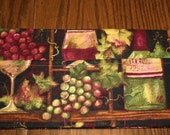 Purse Organizer-wine print fabric in burgundy, green, brown and tan with 10 pockets