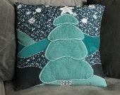 Hand Embroidered Winter Tree Pillow