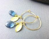 Blue Quartz Chakra Earrings, Blue Quartz and Gold-Fill Wire Hoops, Throat Chakra, Third Eye Chakra, Healing Crystals Chakra Energy Jewelry