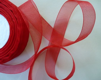 Organza ribbon in bright red.   22mm wide, gift wrap, Christmas wrapping, bows