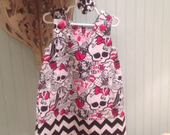 Monster High Hot Pink and Black Dress w Chevron Band (baby, toddler, girls, infant, child) for Birthday or Party