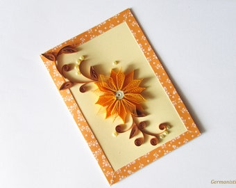 Mother's Day Card, Blank Happy Birthday Card, Paper Quilling Flower Greeting Card, Blank Gift Card for her