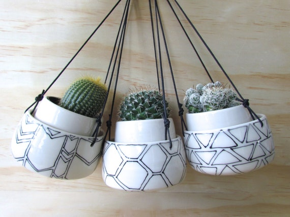 Set Of Three Small Black and White Hanging Geometric Planters. Succulent or herb planters. Handmade. Porcelain. Drainage hole. MADE TO ORDER