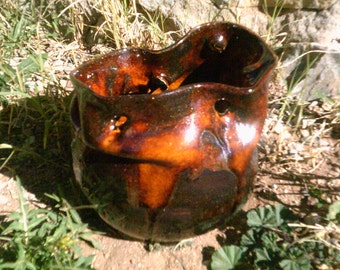 pottery vase glazed in metallic sparkly brown aventurine loosely thrown vase with holes