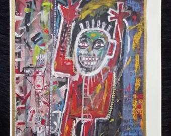 Artwork, art brut Super Ego , acrilycs and gold and silver pigments, handsigned and numbered. Black friday crazy offer