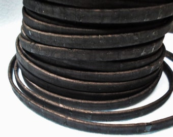 Pre Cuts, No Joins, Portuguese Cork 5mm Flat Black, finding, jewelry supplies, 5mm flat leather cord