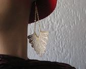 Statement Earrings, Golden Color, Elegant Jewelry, Gold Fabric Earrings, Filigree Earrings, Lace Statement, Chain Earrings